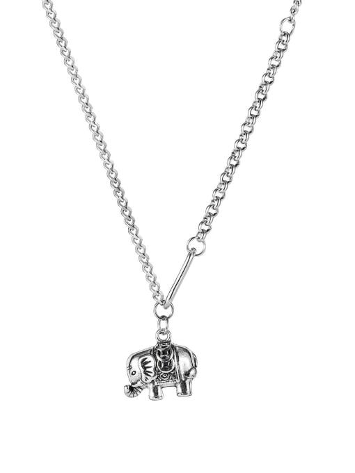 1918 Necklace Titanium Steel Elephant Vintage Long Strand Necklace