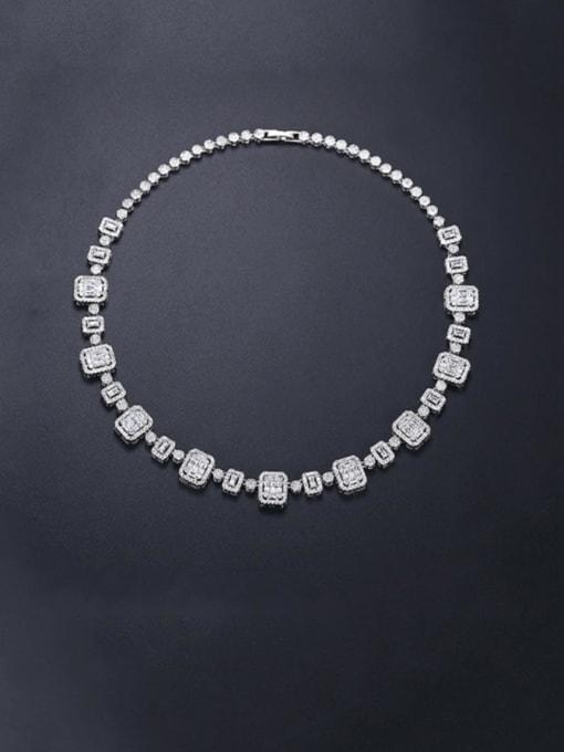 BLING SU Brass Cubic Zirconia Geometric Dainty Necklace