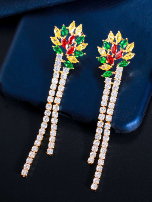 Gold color Brass Cubic Zirconia Tassel Luxury Drop Earring