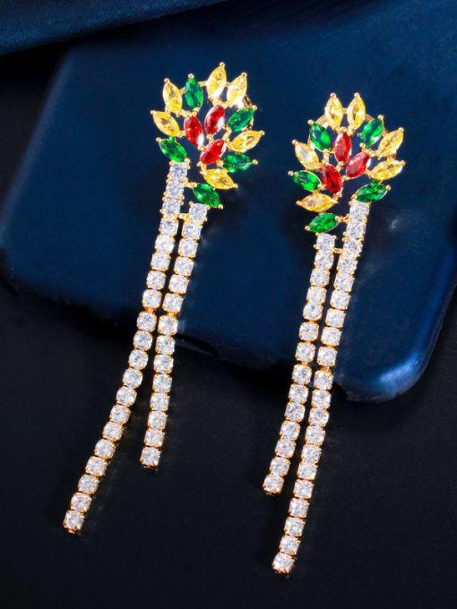 L.WIN Brass Cubic Zirconia Tassel Luxury Drop Earring 1