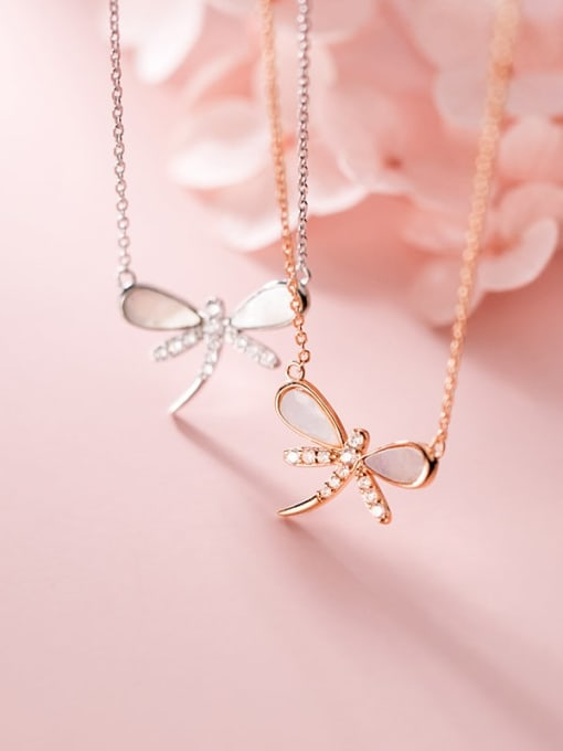 Rosh 925 Sterling Silver Shell Dragonfly Minimalist Necklace 2