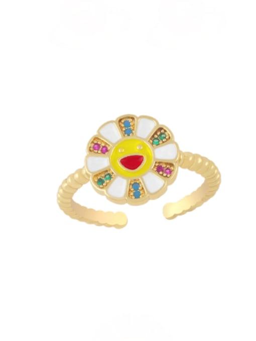 white Brass Enamel Smiley Flower Minimalist Band Ring