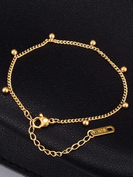 A TEEM Titanium Steel Bead Irregular Minimalist Link Bracelet 0