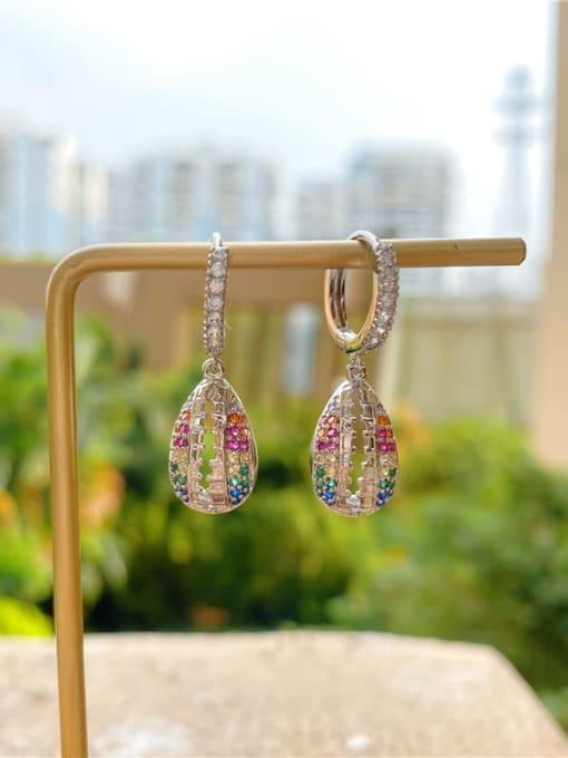 DUDU Brass Cubic Zirconia Water Drop Vintage Huggie Earring 3