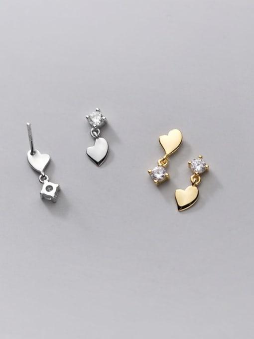 Rosh 925 Sterling Silver Cubic Zirconia Asymmetry Heart Minimalist Stud Earring 2
