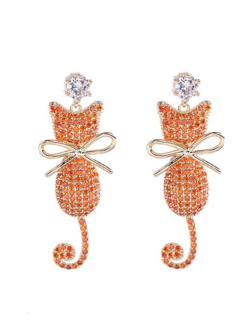 Luxu Brass Cubic Zirconia Cat Cute Drop Earring 3