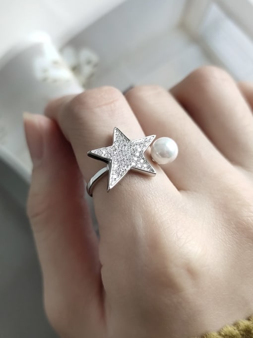 Boomer Cat 925 Sterling Silver Cubic Zirconia Star Minimalist Band Ring 1