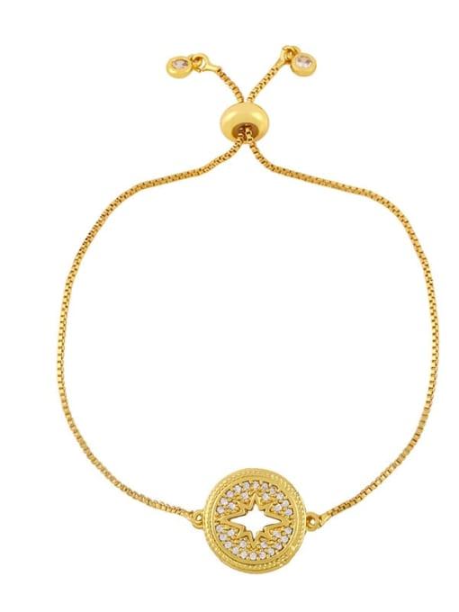 C Brass Cubic Zirconia Geometric Hip Hop Adjustable Bracelet