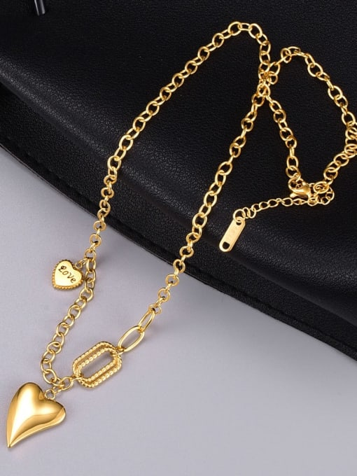 A TEEM Titanium Steel Smooth Heart Vintage Necklace 4