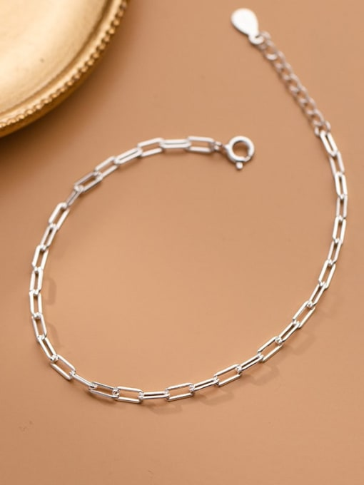 Rosh 925 Sterling Silver Hollow  Geometric  Chain Minimalist Link Bracelet 1
