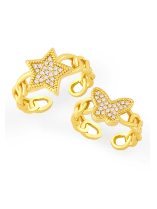 CC Brass Cubic Zirconia Star Vintage Band Ring
