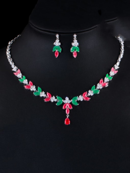 Platinum red green suit Brass Cubic Zirconia Luxury Flower Earring and Necklace Set