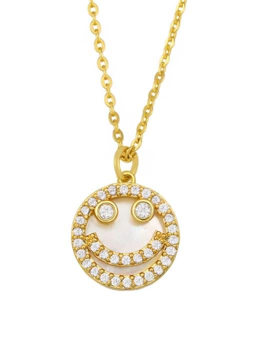 smiling face Brass Cubic Zirconia Heart Hip Hop Necklace