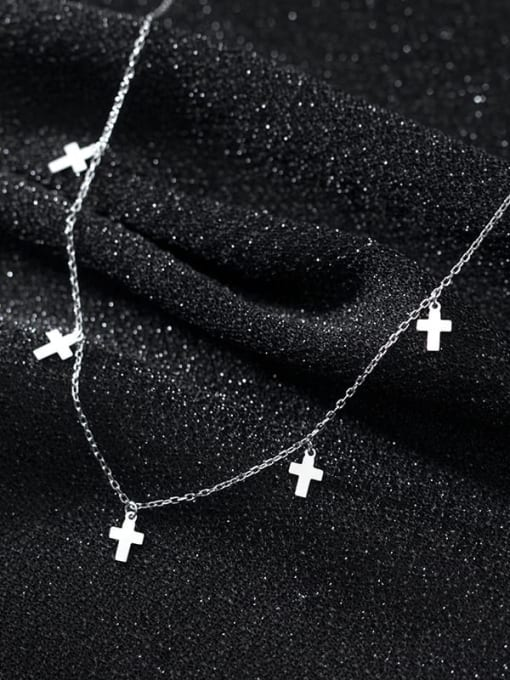 Rosh 925 Sterling Silver Smooth Cross Minimalist Necklace
