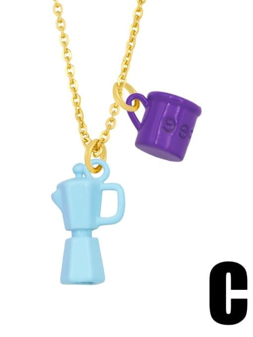 C (dark purple light blue) Brass Enamel Irregular Vintage Necklace