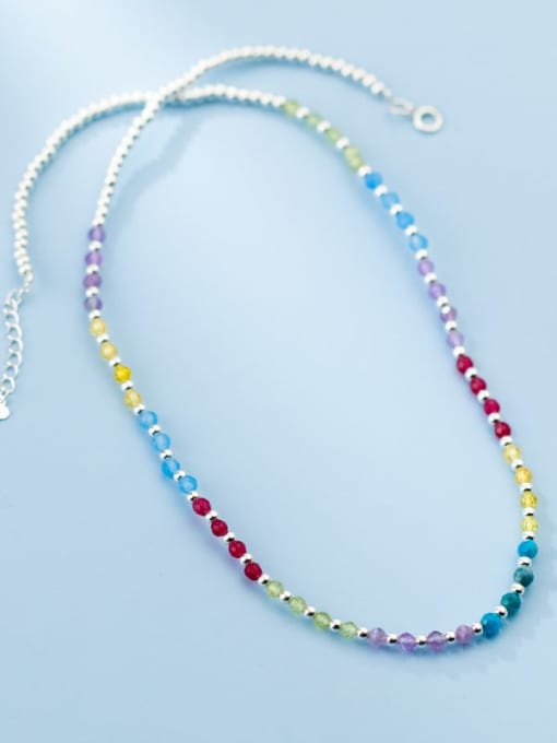 Rosh 925 Sterling Silver Bead Multi Color Round Minimalist Necklace