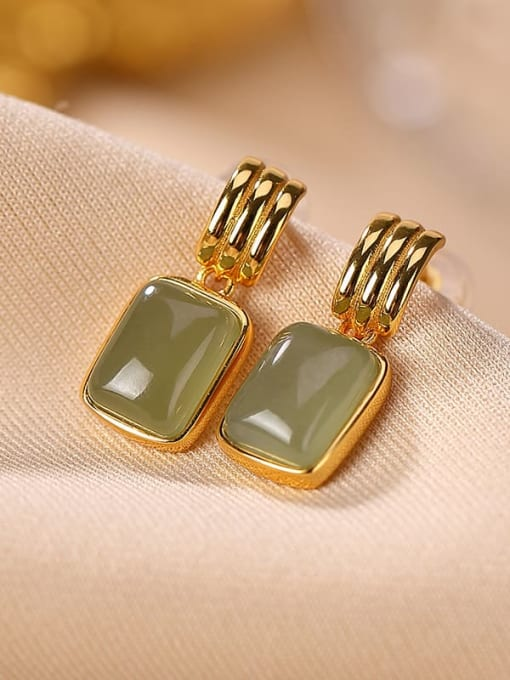 Sapphire Gold 925 Sterling Silver Jade Geometric Vintage Drop Earring
