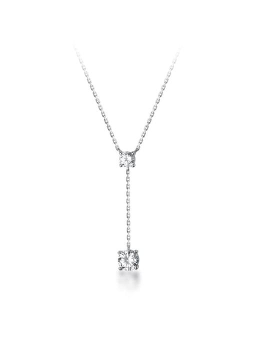 Rosh 925 Sterling Silver Cubic Zirconia Tassel Minimalist Lariat Necklace 3