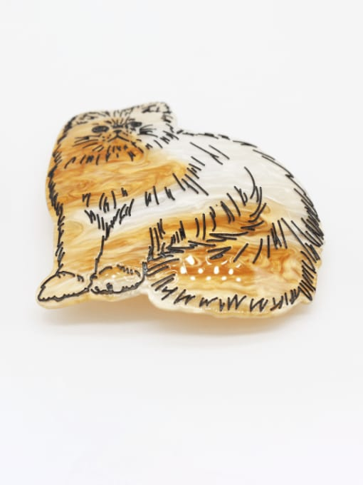 gold and silver Cellulose Acetate Cute Tiger Zinc Alloy Spring  Hair Barrette