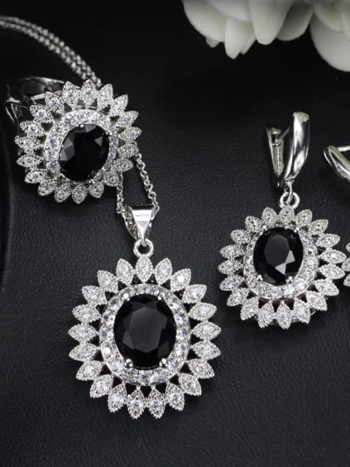 Black Ring Size 7 Brass Cubic Zirconia  Dainty Geometric Earring Ring and Necklace Set