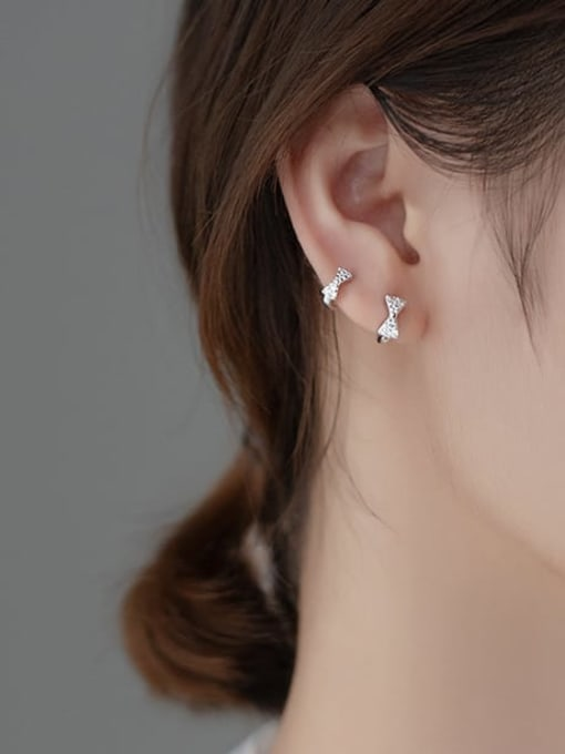Rosh 925 Sterling Silver Cubic Zirconia Bowknot Minimalist Huggie Earring 1