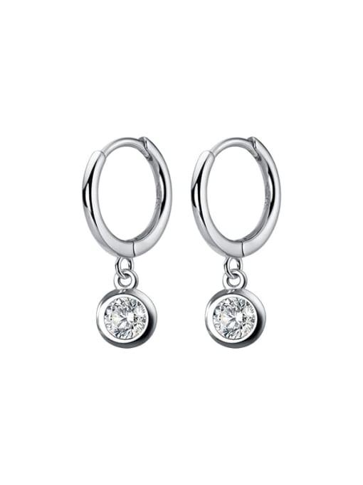 Rosh 925 Sterling Silver Cubic Zirconia Geometric Statement Huggie Earring 3
