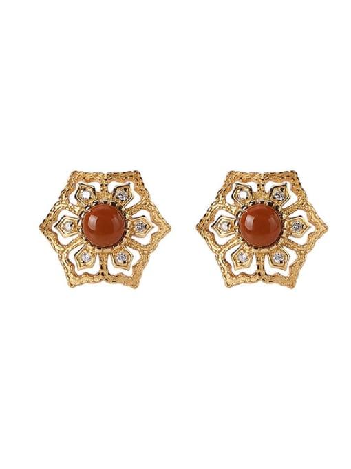 DEER 925 Sterling Silver Carnelian Hexagon Vintage Stud Earring