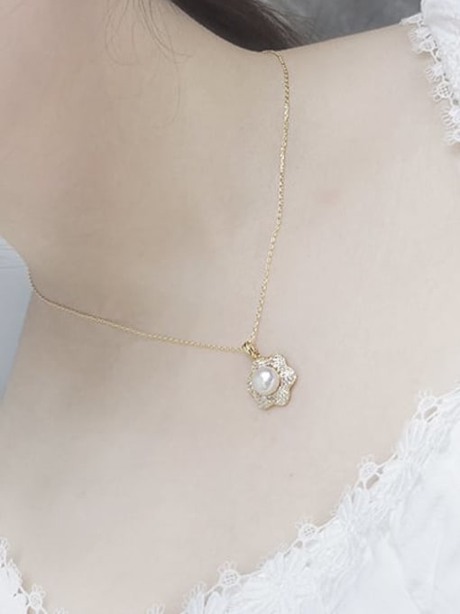 RAIN Brass Imitation Pearl Vintage Flower  Earring and Necklace Set 2
