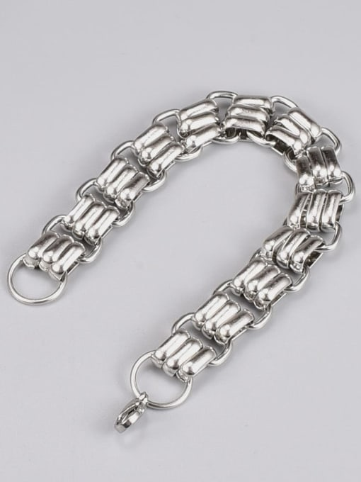 A TEEM Titanium Steel Geometric Hip Hop Link Bracelet 1