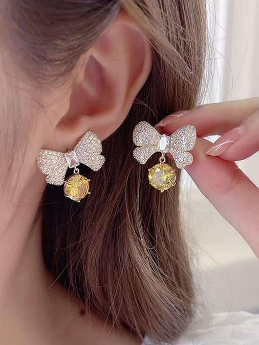 Luxu Brass Cubic Zirconia Butterfly Bohemia Stud Earring 2