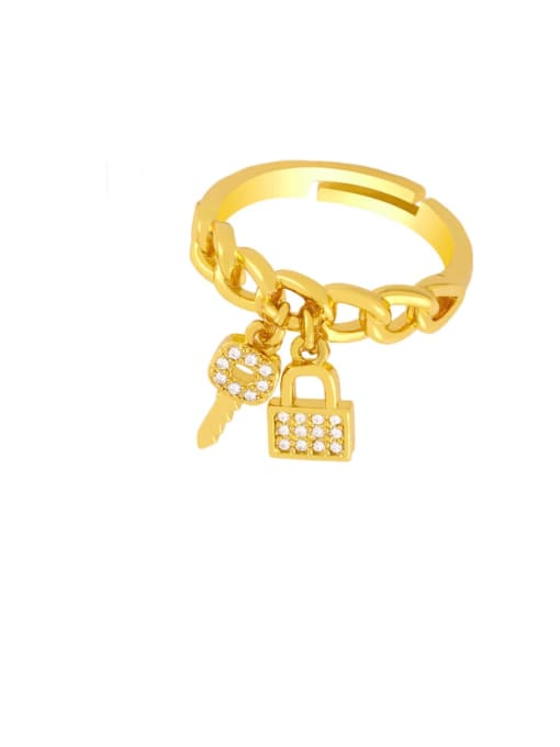 CC Brass Cubic Zirconia Key Vintage Band Ring 2