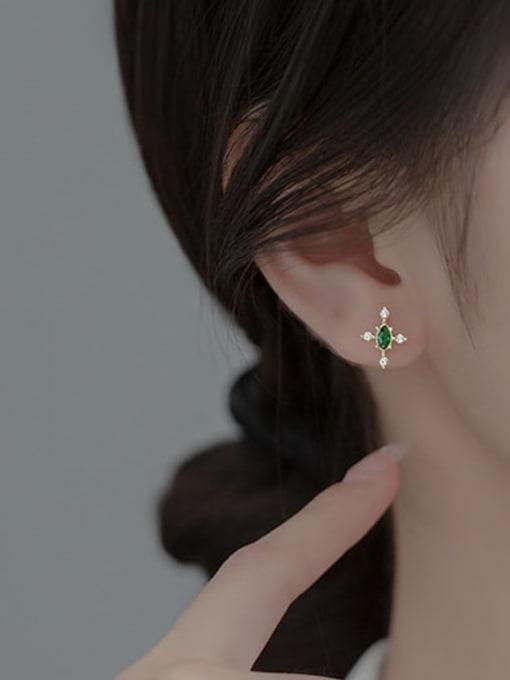 Rosh 925 Sterling Silver Cubic Zirconia Cross Minimalist Stud Earring 1