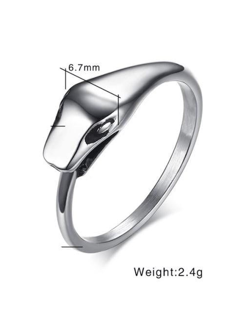 CONG Titanium Steel Snake Minimalist Band Ring 1