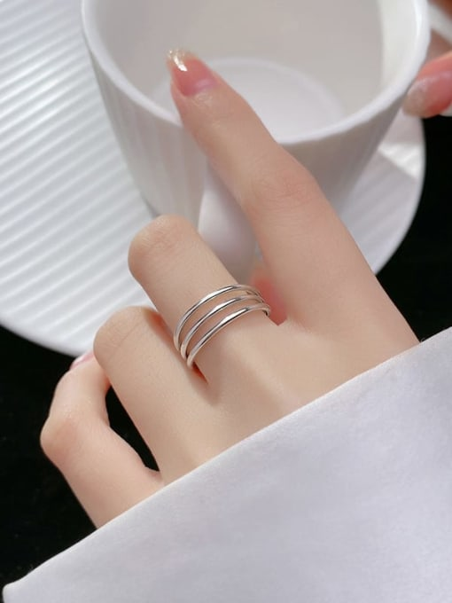Rosh 925 Sterling Silver Geometric Minimalist Stackable Ring 1