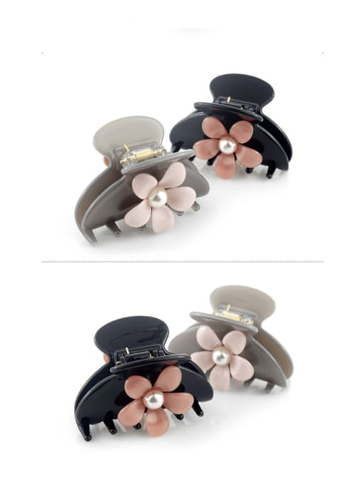 HUIYI Cellulose Acetate Cute Flower Zinc Alloy Jaw Hair Claw 2