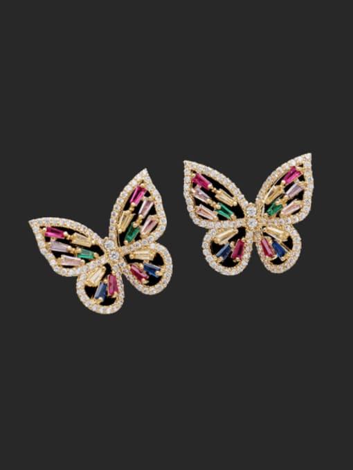 Golden zirconium Brass Cubic Zirconia Butterfly Trend Threader Earring