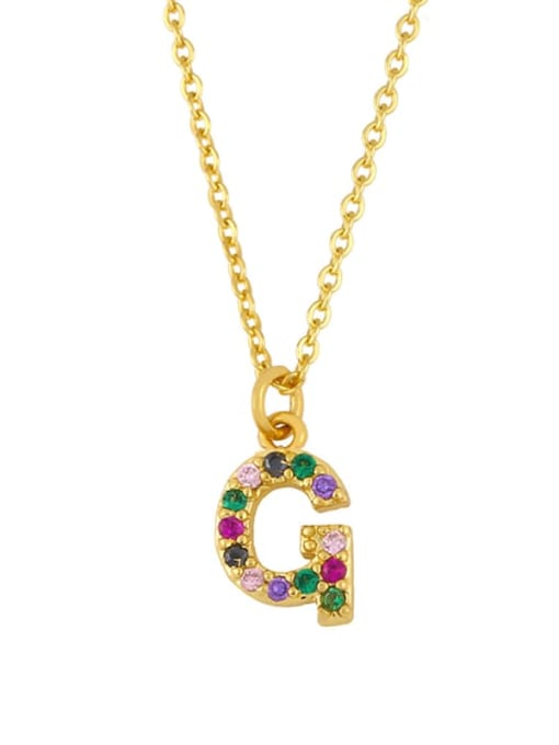G Brass Cubic Zirconia Letter Vintage Necklace