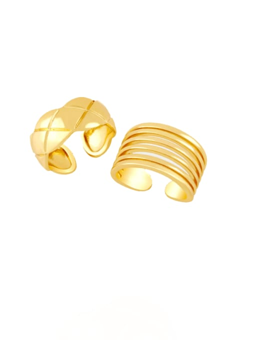 CC Brass Smooth Geometric Vintage Band Ring 0