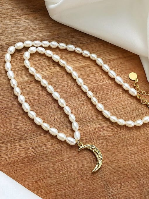 CONG Stainless steel Freshwater Pearl Moon Minimalist Necklace 0