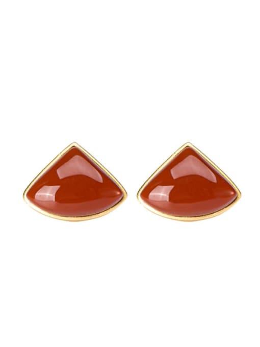 DEER 925 Sterling Silver Carnelian Triangle Minimalist Stud Earring 3