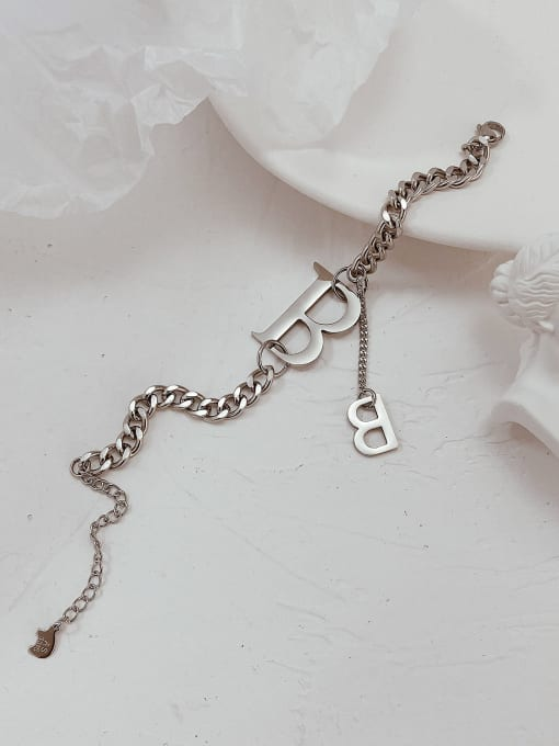 Open Sky Titanium Steel Letter Hip Hop Link Bracelet 2