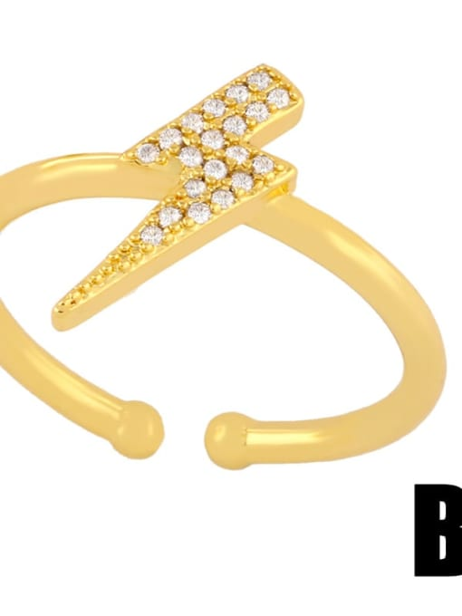 B Brass Cubic Zirconia Irregular Dainty Band Ring