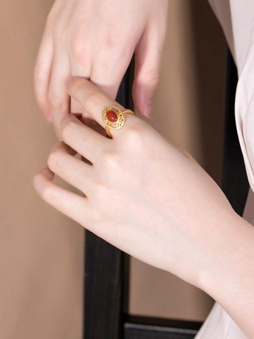 DEER 925 Sterling Silver Carnelian Geometric Vintage Band Ring 1