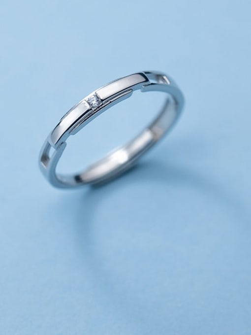 Rosh 925 Sterling Silver Rhinestone Geometric Minimalist Couple Ring 0