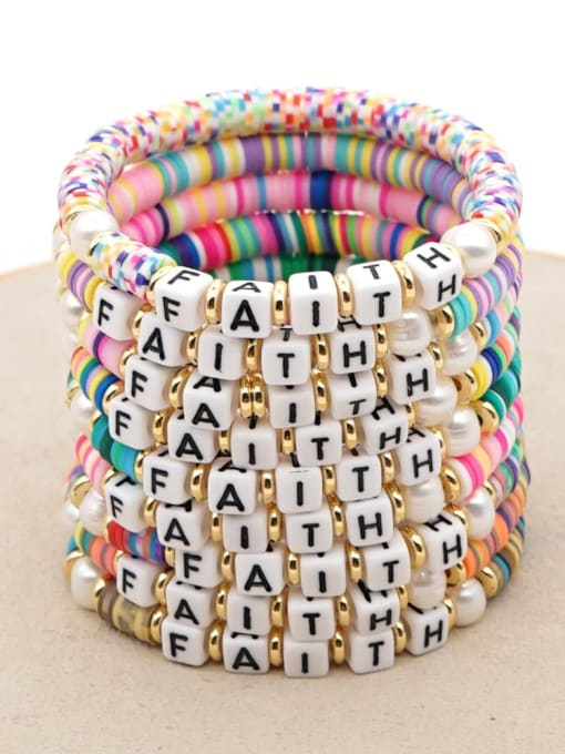 Roxi Stainless steel Multi Color Polymer Clay Letter Bohemia Stretch Bracelet 0