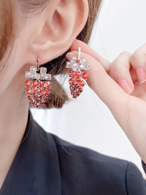 Luxu Brass Cubic Zirconia Friut Statement Drop Earring 1