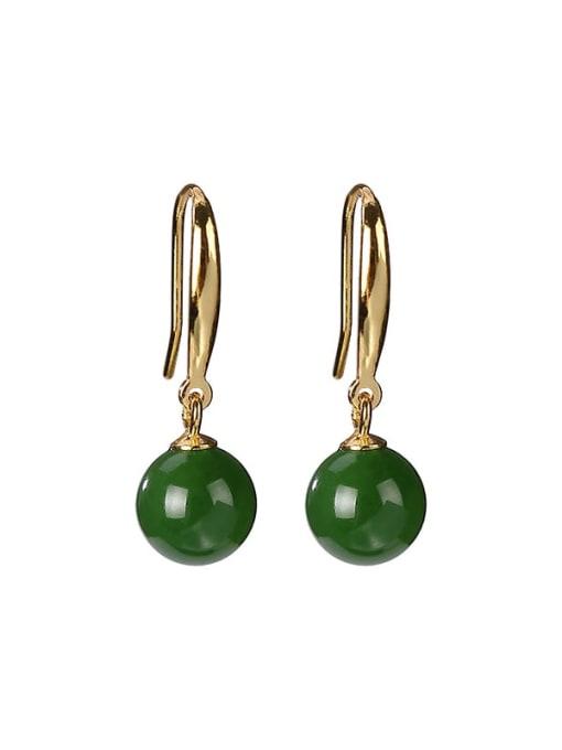 DEER 925 Sterling Silver Jade Geometric Vintage Hook Earring 0