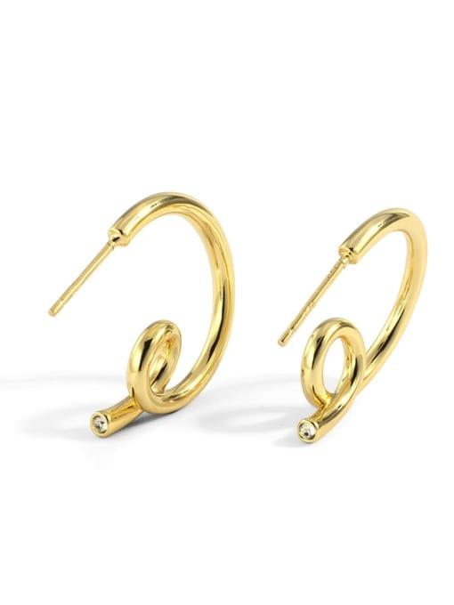 Gold Brass Geometric Minimalist Stud Earring