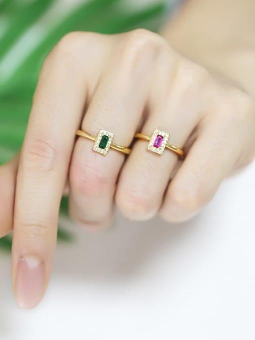 CC Brass Cubic Zirconia Geometric Minimalist Band Ring 1