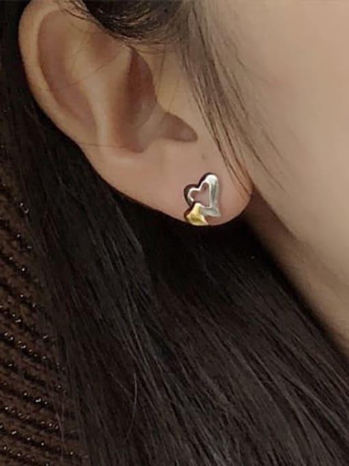 XBOX 925 Sterling Silver Heart Minimalist Stud Earring 2